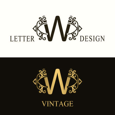Stylish Capital letter W. Vintage Logo. Filigree Beautiful Monogram. Luxury Drawn Emblem. Graceful Style. Black and Gold. Graphic Ornament. Simple Design of Calligraphic Insignia. Vector Illustration