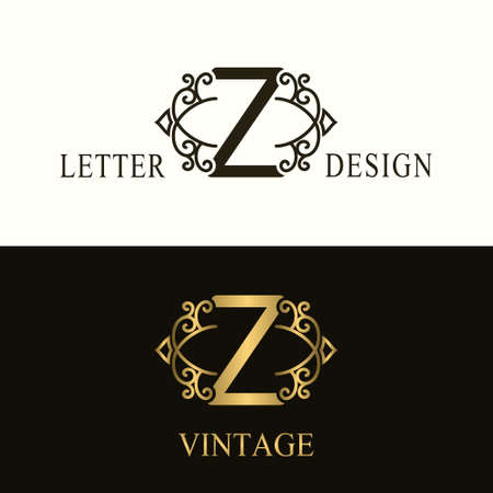 Stylish Capital letter Z. Vintage Logo. Filigree Beautiful Monogram. Luxury Drawn Emblem. Graceful Style. Black and Gold. Graphic Ornament. Simple Design of Calligraphic Insignia. Vector Illustration
