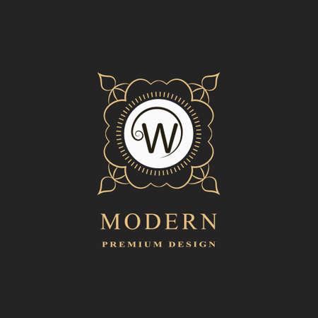Linear Monogram Letter W. Graceful Royal Style. Calligraphic Beautiful logo. Vintage Floral Drawn Emblem. Good for Design of Brand Name, Business Card, Restaurant, Boutique, Hotel. Vector illustration Ilustracja