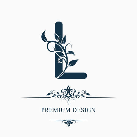 Luxury Capital Letter L. Decorative Floral Monogram. Branch with Leaves. Calligraphic Logo Template. Graphic Emblem. Good for Design of Pages, Stickers, Signage, Labels, Cards. Vector illustration Ilustrace