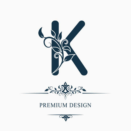 Luxury Capital Letter K. Decorative Floral Monogram. Branch with Leaves. Calligraphic Logo Template. Graphic Emblem. Good for Design of Pages, Stickers, Signage, Labels, Cards. Vector illustration Çizim
