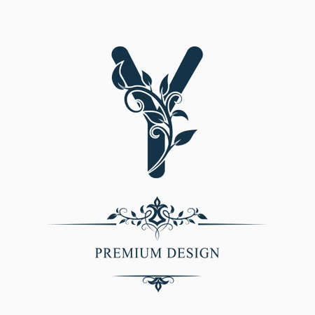 Luxury Capital Letter Y. Decorative Floral Monogram. Branch with Leaves. Calligraphic Logo Template. Graphic Emblem. Good for Design of Pages, Stickers, Signage, Labels, Cards. Vector illustration 矢量图像