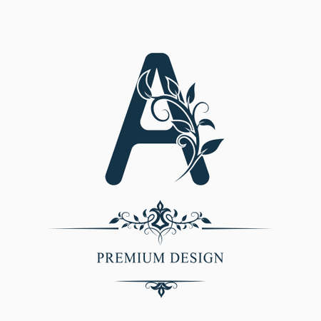 Luxury Capital Letter A. Decorative Floral Monogram. Branch with Leaves. Calligraphic Logo Template. Graphic Emblem. Good for Design of Pages, Stickers, Signage, Labels, Cards. Vector illustration