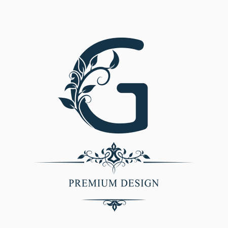 Luxury Capital Letter G. Decorative Floral Monogram. Branch with Leaves. Calligraphic Logo Template. Graphic Emblem. Good for Design of Pages, Stickers, Signage, Labels, Cards. Vector illustration