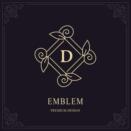 Floral Monogram Design. Letter D. Fourishes Calligraphic Vintage Frame. Simple Logo Line Art Template. Good for Design of Brand Name, Business Card, Restaurant, Boutique, Hotel. Vector illustration