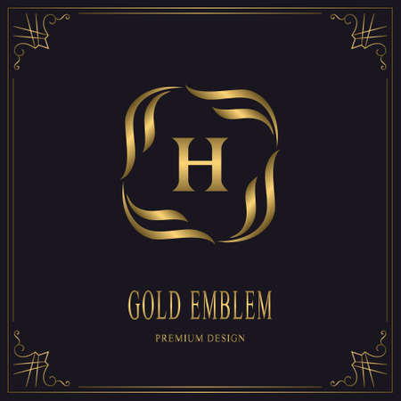 Gold Emblem of the Weaving. Letter H. Monogram Graceful Template. Simple Logo Design for Luxury Crest, Royalty, Business Card, Boutique, Hotel, Heraldic. Calligraphic Vintage Border. Vector Vettoriali