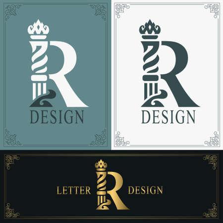 Elegant letter R. Graceful royal style. Calligraphic beautiful logo. Vintage drawn emblem for book design, brand name, business card, Restaurant, Boutique, Hotel. Vintage Border. Vector illustration