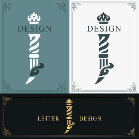 Elegant letter J. Graceful royal style. Calligraphic beautiful logo. Vintage drawn emblem for book design, brand name, business card, Restaurant, Boutique, Hotel. Vintage Border. Vector illustration Vettoriali