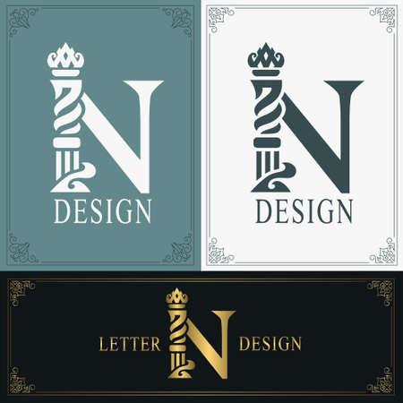 Elegant letter N. Graceful royal style. Calligraphic beautiful logo. Vintage drawn emblem for book design, brand name, business card, Restaurant, Boutique, Hotel. Vintage Border. Vector illustration