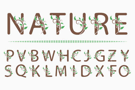 Set of Luxury Capital Letters. Decorative Floral Monograms. Branch with Leaves. Calligraphic Logo Template. Good for Design of Inscriptions, Pages, Stickers, Signage, Labels, Cards Vector illustration