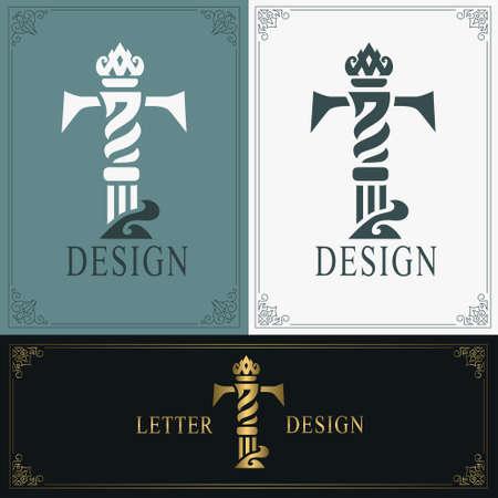 Elegant letter T. Graceful royal style. Calligraphic beautiful logo. Vintage drawn emblem for book design, brand name, business card, Restaurant, Boutique, Hotel. Vintage Border. Vector illustration