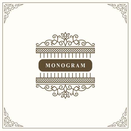 Monogram Graceful Template. Elegant Line Art Logo Design. Vintage Emblem for Luxury Crest, Royalty, Business Card, Boutique, Hotel, Restaurant. Frame for Label. Calligraphic Vintage Border. Vector Ilustração