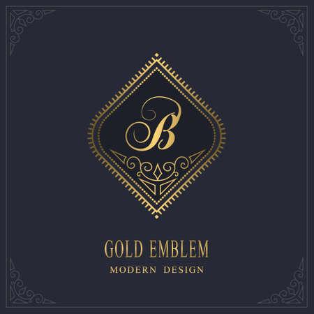 Gold Monogram. Letter B. Graceful Emblem Template. Simple Logo Design for Luxury Crest, Royalty, Business Card, Boutique, Hotel, Heraldic, Restaurant. Calligraphic Vintage Border. Vector illustration Ilustração
