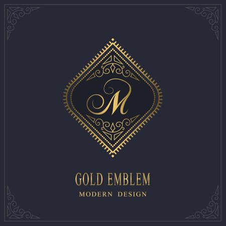 Gold Monogram. Letter M. Graceful Emblem Template. Simple Logo Design for Luxury Crest, Royalty, Business Card, Boutique, Hotel, Heraldic, Restaurant. Calligraphic Vintage Border. Vector illustration