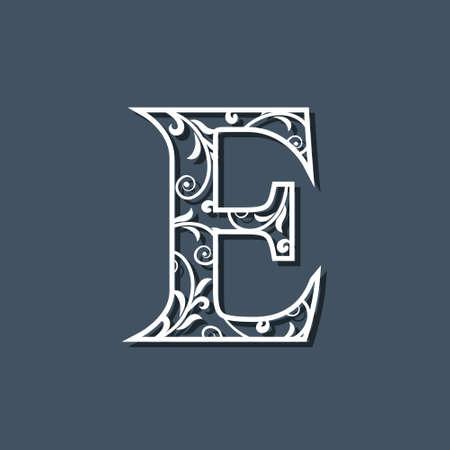 Initial Letter E. Floral Monogram Template. Filigree Logo. Floral Pattern. Elegant Emblem. Decorative Font. Graceful style. Calligraphic Luxury Design. Beauty Ornament. Vector Illustration