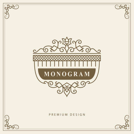 Vintage Ornament Grußkarte Vektor-Vorlage. Retro-Luxus-Einladung, königliches Zertifikat. Blüht Rahmen. Vektorhintergrund