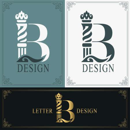 Elegant letter B. Graceful royal style. Calligraphic beautiful logo. Vintage drawn emblem for book design, brand name, business card, Restaurant, Boutique, Hotel. Vintage Border. Vector illustration Ilustração