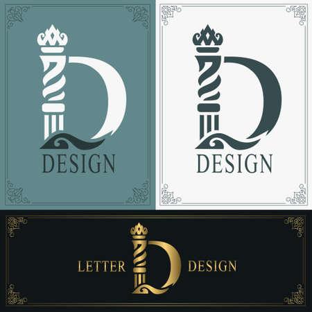 Elegant letter D. Graceful royal style. Calligraphic beautiful logo. Vintage drawn emblem for book design, brand name, business card, Restaurant, Boutique, Hotel. Vintage Border. Vector illustration