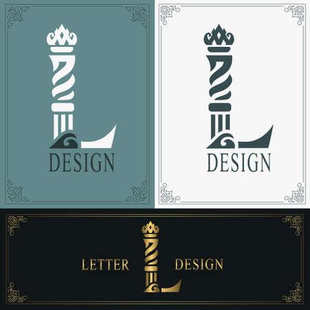 Elegant letter L. Graceful royal style. Calligraphic beautiful logo. Vintage drawn emblem for book design, brand name, business card, Restaurant, Boutique, Hotel. Vintage Border. Vector illustration