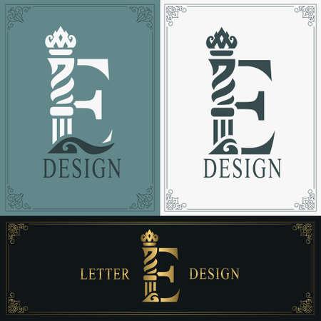 Elegant letter E. Graceful royal style. Calligraphic beautiful logo. Vintage drawn emblem for book design, brand name, business card, Restaurant, Boutique, Hotel. Vintage Border. Vector illustration