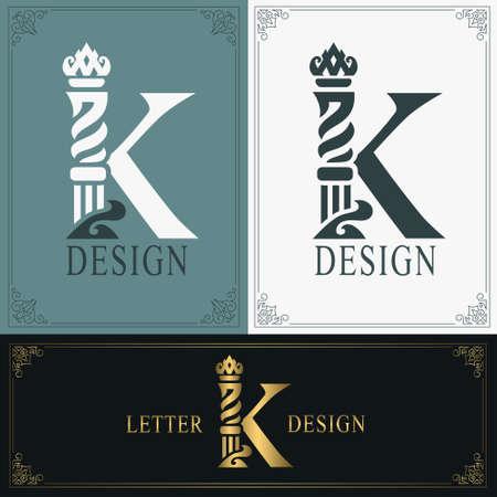 Elegant letter K. Graceful royal style. Calligraphic beautiful logo. Vintage drawn emblem for book design, brand name, business card, Restaurant, Boutique, Hotel. Vintage Border. Vector illustration