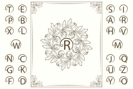 Floral Luxury Monogram Template. Set of Capital Letters. Ornament in Baroque Style. Beautiful Logo Design. Vintage Vignette for Boutique, Hotel, Heraldic, Restaurant, Certificate. Vector Illustration