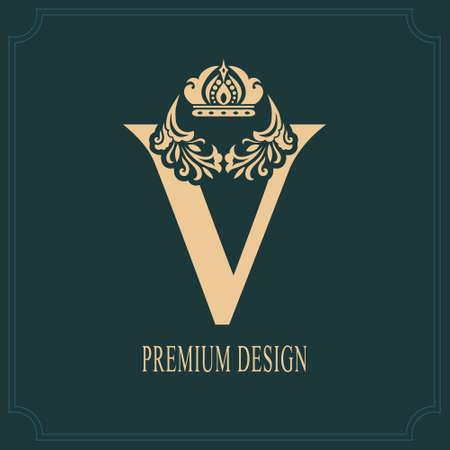 Elegant Letter V with Crown. Graceful Royal Style. Calligraphic Beautiful Logo. Vintage Drawn Emblem for Book Design, Brand Name, Business Card, Restaurant, Boutique, Crest, Hotel. Vector illustration