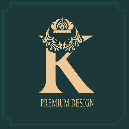 Elegant Letter K with Crown. Graceful Royal Style. Calligraphic Beautiful Logo. Vintage Drawn Emblem for Book Design, Brand Name, Business Card, Restaurant, Boutique, Crest, Hotel. Vector illustration