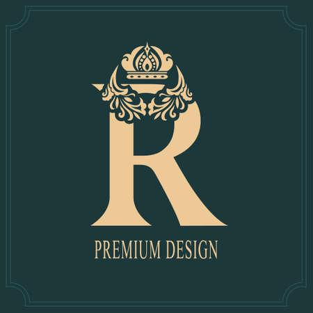 Elegant Letter R with Crown. Graceful Royal Style. Calligraphic Beautiful Logo. Vintage Drawn Emblem for Book Design, Brand Name, Business Card, Restaurant, Boutique, Crest, Hotel. Vector illustration