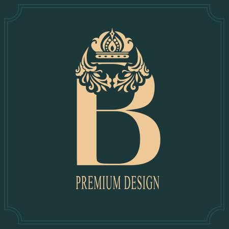 Elegant Letter B with Crown. Graceful Royal Style. Calligraphic Beautiful Logo. Vintage Drawn Emblem for Book Design, Brand Name, Business Card, Restaurant, Boutique, Crest, Hotel. Vector illustration