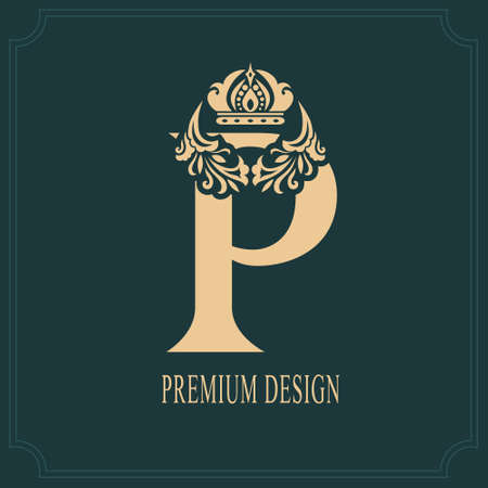Elegant Letter P with Crown. Graceful Royal Style. Calligraphic Beautiful Logo. Vintage Drawn Emblem for Book Design, Brand Name, Business Card, Restaurant, Boutique, Crest, Hotel. Vector illustration
