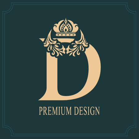Elegant Letter D with Crown. Graceful Royal Style. Calligraphic Beautiful Logo. Vintage Drawn Emblem for Book Design, Brand Name, Business Card, Restaurant, Boutique, Crest, Hotel. Vector illustration Ilustração