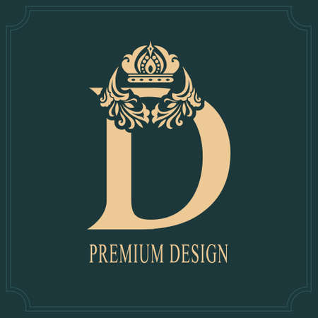 Elegant Letter D with Crown. Graceful Royal Style. Calligraphic Beautiful Logo. Vintage Drawn Emblem for Book Design, Brand Name, Business Card, Restaurant, Boutique, Crest, Hotel. Vector illustration Illustration