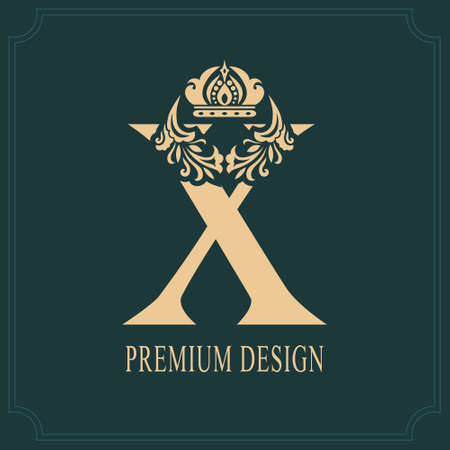 Elegant Letter X with Crown. Graceful Royal Style. Calligraphic Beautiful Logo. Vintage Drawn Emblem for Book Design, Brand Name, Business Card, Restaurant, Boutique, Crest, Hotel. Vector illustration