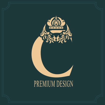 Elegant Letter C with Crown. Graceful Royal Style. Calligraphic Beautiful Logo. Vintage Drawn Emblem for Book Design, Brand Name, Business Card, Restaurant, Boutique, Crest, Hotel. Vector illustration