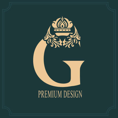 Elegant Letter G with Crown. Graceful Royal Style. Calligraphic Beautiful Logo. Vintage Drawn Emblem for Book Design, Brand Name, Business Card, Restaurant, Boutique, Crest, Hotel. Vector illustration