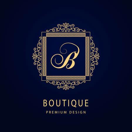Monogram Graceful Template. Letter B. Calligraphic Elegant Line Art Logo Design. Vintage Gold Emblem for Luxury Crest, Royalty, Business Card, Boutique, Hotel, Restaurant. Frame for Label. Vector Vettoriali