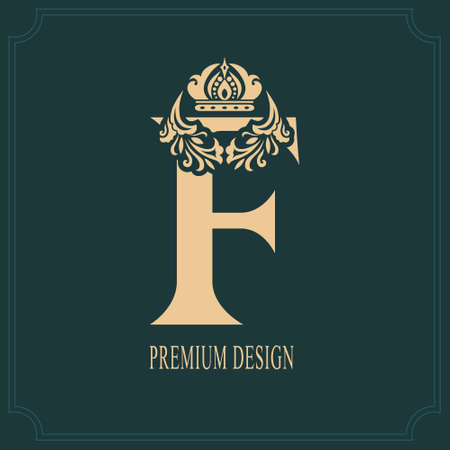 Elegant Letter F with Crown. Graceful Royal Style. Calligraphic Beautiful Logo. Vintage Drawn Emblem for Book Design, Brand Name, Business Card, Restaurant, Boutique, Crest, Hotel. Vector illustration