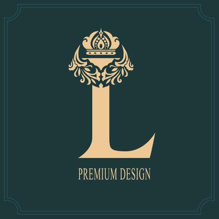 Elegant Letter L with Crown. Graceful Royal Style. Calligraphic Beautiful Logo. Vintage Drawn Emblem for Book Design, Brand Name, Business Card, Restaurant, Boutique, Crest, Hotel. Vector illustration