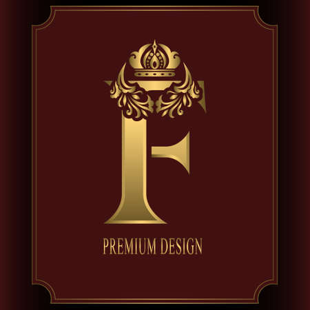 Gold Letter F with Crown. Graceful Royal Style. Calligraphic Beautiful Logo. Vintage Drawn Emblem for Book Design, Brand Name, Business Card, Restaurant, Boutique, Crest, Hotel. Vector illustration