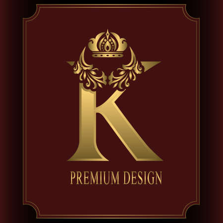 Gold Letter K with Crown. Graceful Royal Style. Calligraphic Beautiful Logo. Vintage Drawn Emblem for Book Design, Brand Name, Business Card, Restaurant, Boutique, Crest, Hotel. Vector illustration Ilustração
