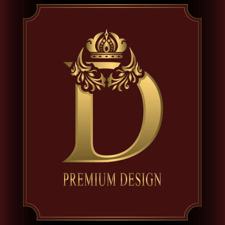 Gold Letter D with Crown. Graceful Royal Style. Calligraphic Beautiful Logo. Vintage Drawn Emblem for Book Design, Brand Name, Business Card, Restaurant, Boutique, Crest, Hotel. Vector illustration