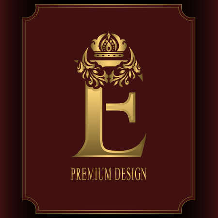 Gold Letter E with Crown. Graceful Royal Style. Calligraphic Beautiful Logo. Vintage Drawn Emblem for Book Design, Brand Name, Business Card, Restaurant, Boutique, Crest, Hotel. Vector illustration