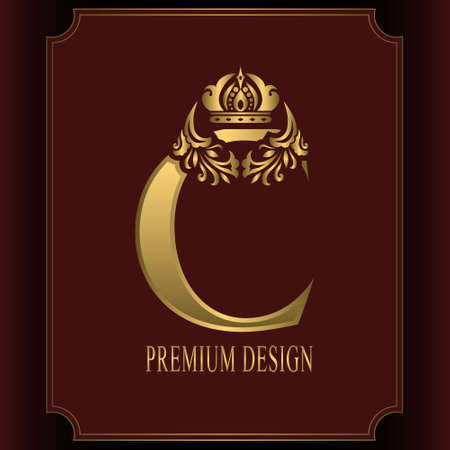 Gold Letter C with Crown. Graceful Royal Style. Calligraphic Beautiful Logo. Vintage Drawn Emblem for Book Design, Brand Name, Business Card, Restaurant, Boutique, Crest, Hotel. Vector illustration