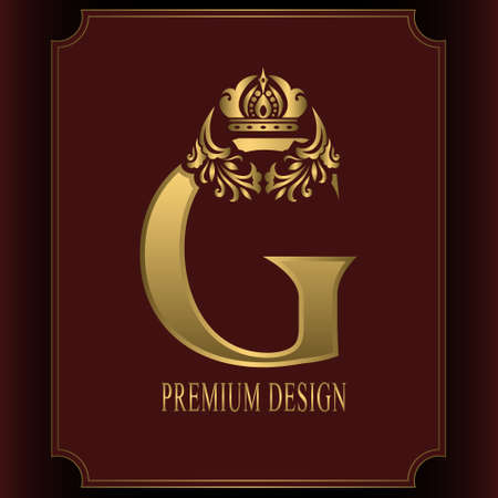 Gold Letter G with Crown. Graceful Royal Style. Calligraphic Beautiful Logo. Vintage Drawn Emblem for Book Design, Brand Name, Business Card, Restaurant, Boutique, Crest, Hotel. Vector illustration