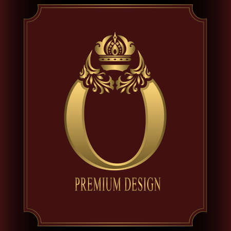 Gold Letter O with Crown. Graceful Royal Style. Calligraphic Beautiful Logo. Vintage Drawn Emblem for Book Design, Brand Name, Business Card, Restaurant, Boutique, Crest, Hotel. Vector illustration