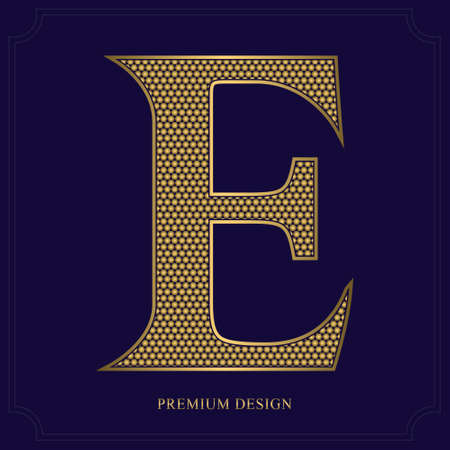 Shiny Gold Letter E. Graceful Royal Style. Luxury Beautiful Textured Design. Detailed Expensive Emblem for Logo, Brand Name, Business Card, Restaurant, Boutique, Crest, Hotel. Vector illustration