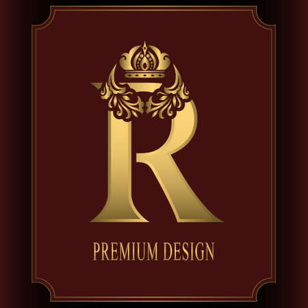 Gold Letter R with Crown. Graceful Royal Style. Calligraphic Beautiful Logo. Vintage Drawn Emblem for Book Design, Brand Name, Business Card, Restaurant, Boutique, Crest, Hotel. Vector illustration