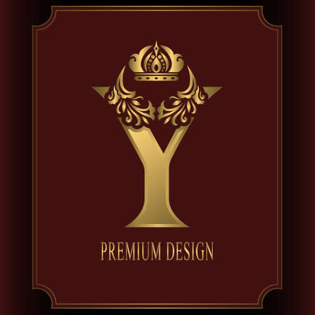 Gold Letter Y with Crown. Graceful Royal Style. Calligraphic Beautiful Logo. Vintage Drawn Emblem for Book Design, Brand Name, Business Card, Restaurant, Boutique, Crest, Hotel. Vector illustration