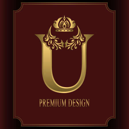 Gold Letter U with Crown. Graceful Royal Style. Calligraphic Beautiful Logo. Vintage Drawn Emblem for Book Design, Brand Name, Business Card, Restaurant, Boutique, Crest, Hotel. Vector illustration